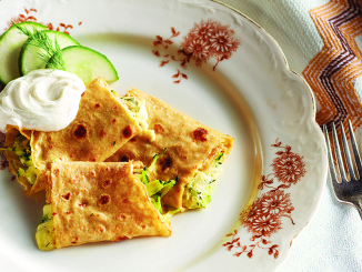 Cheesy Crepes with Zucchini on plate